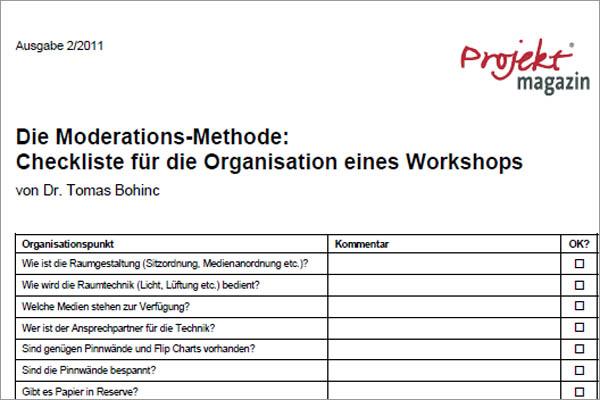 checklisten zur moderationsvorbereitung projekt magazin