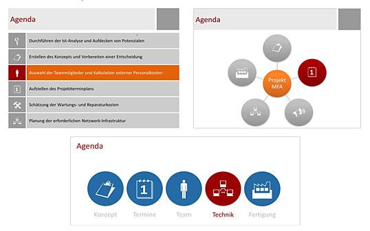 bild 1 drei beispiele fr eine bildhafte agenda das jeweils nchste thema ist farbig hervorgehoben - Unternehmensprasentation Beispiele