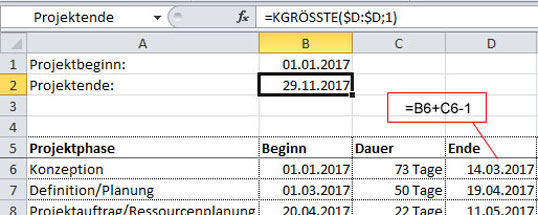 aus der excel trickkiste microsoft excel wie verteilen sich die projektphasen auf die. Black Bedroom Furniture Sets. Home Design Ideas