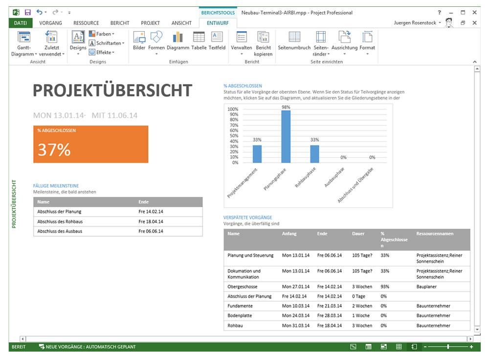 Berichte Erstellen Mit Microsoft Project 2013