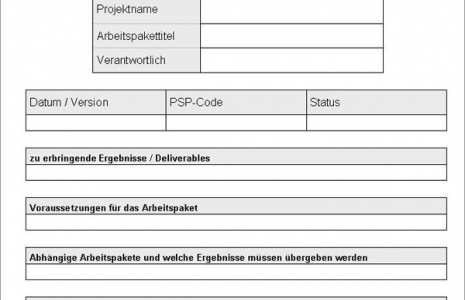 Vorlage Arbeitspaket Formular