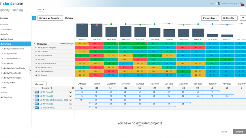 Clarizen Capacity Planning View