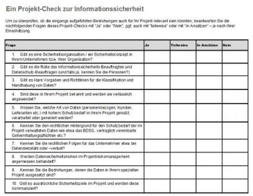 Checkliste für Informationssicherheit